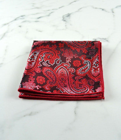 Red & Black Paisley Pocket Square - The Dapper Man