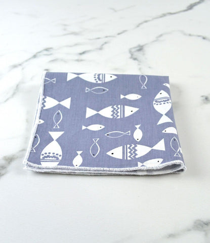 Grey Fishy Pocket Square - The Dapper Man