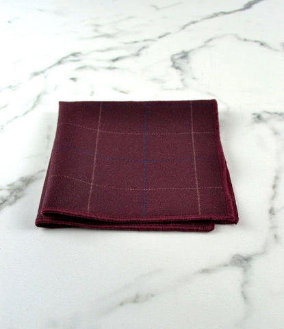 Maroon Chequered Pocket Square - The Dapper Man