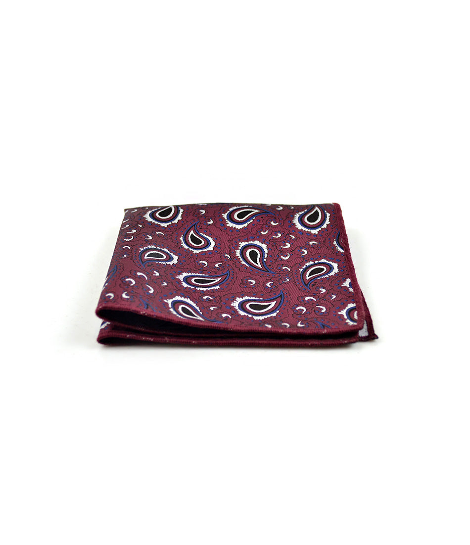 the dapper man - Maroon with Blue Paisley Pocket Square
