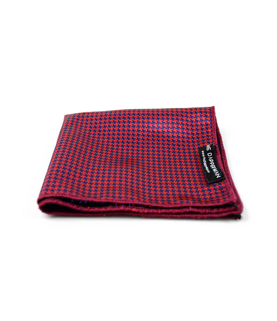 the dapper man - Red & Blue Hounds-tooth Pocket Square