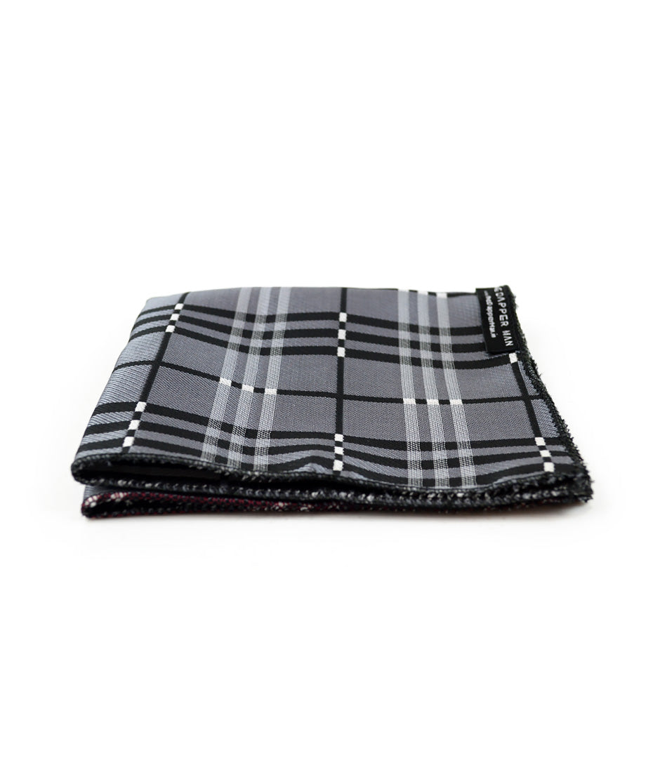 the dapper man - Grey & Black Checks Pocket Square