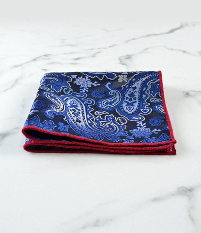 Blue & Black Paisley Pocket Square II - The Dapper Man