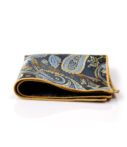 Blue & Mustard Paisley Pocket Square