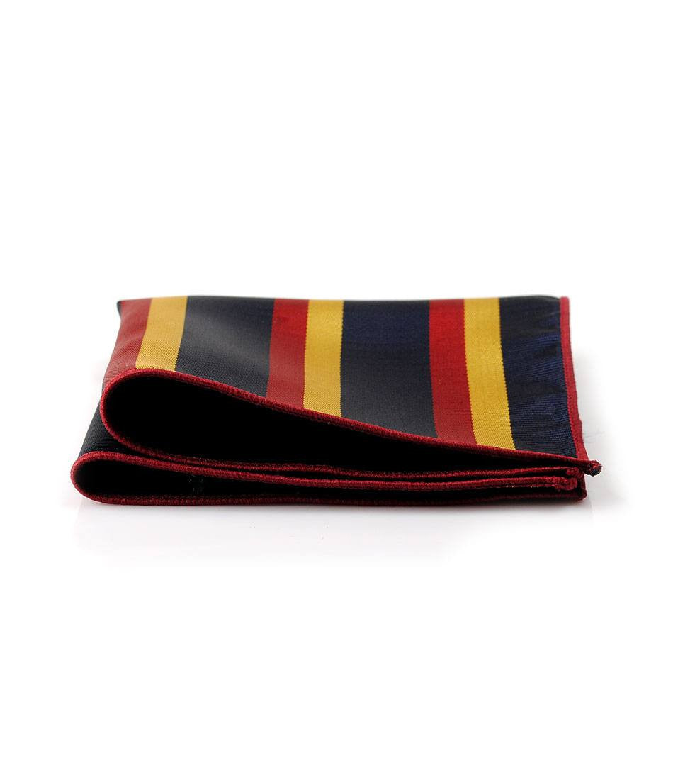 Navy, Red & Yellow Stripes Pocket Square - The Dapper Man