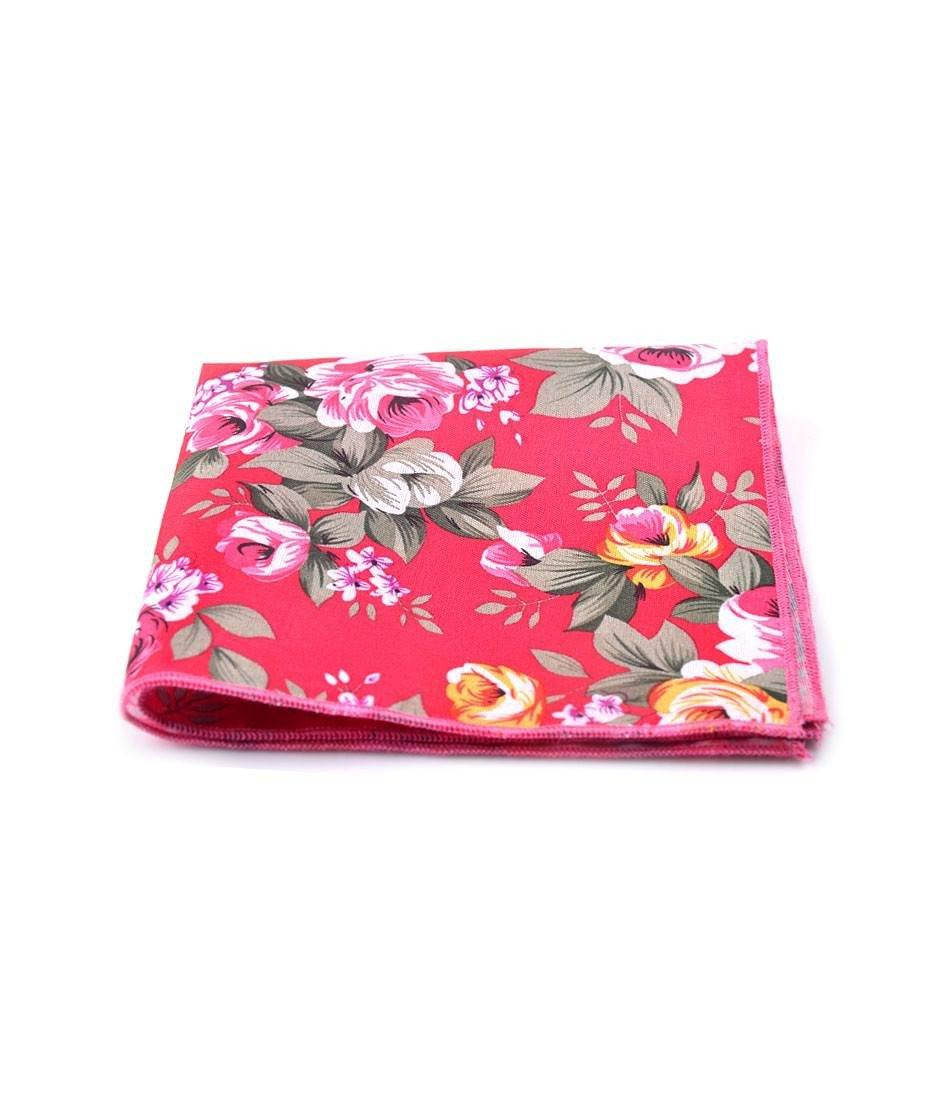 Rich Pink Floral Pocket Square - The Dapper Man