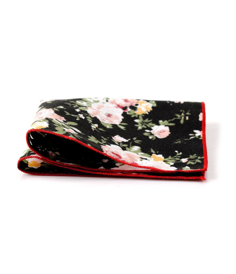 Black Floral Pocket Square - The Dapper Man