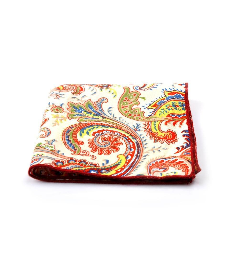 Off white & Red Paisley Pocket Square - The Dapper Man