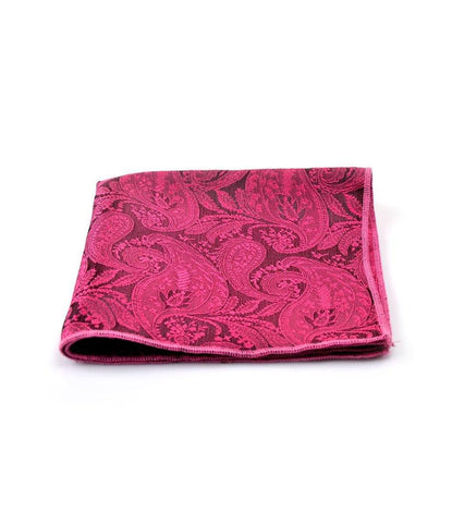 Magenta Black Paisley Pocket Square - The Dapper Man