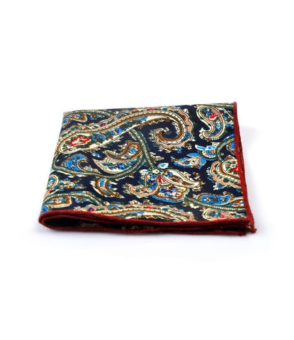 Navy Blue Paisley Pocket Square - The Dapper Man