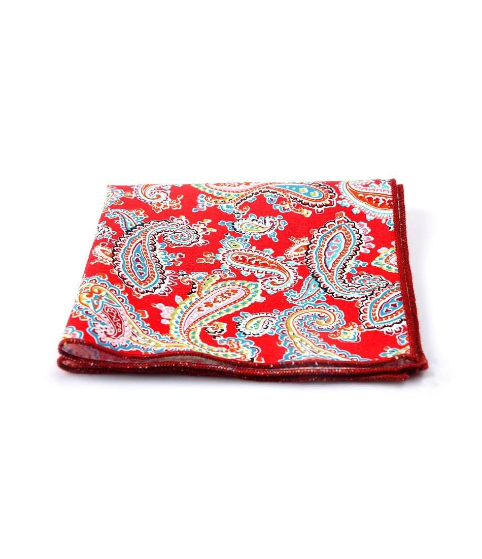 Bright Red Paisley Pocket Square - The Dapper Man