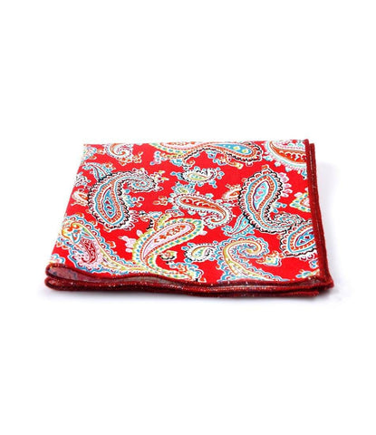 Bright Red Paisley Pocket Square