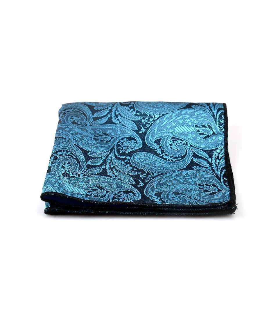 Blue & Black Paisley Pocket Square - The Dapper Man
