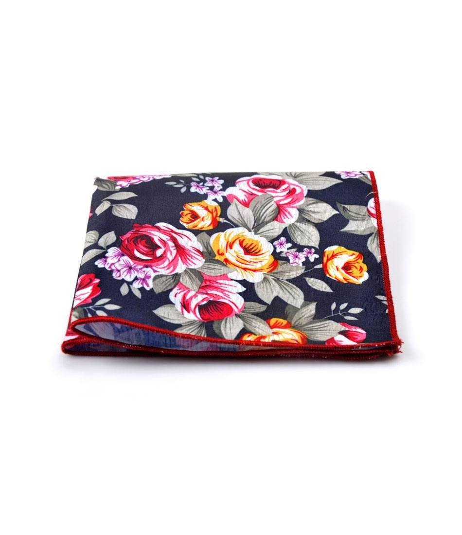 Oxford Blue Floral Pocket Square - The Dapper Man