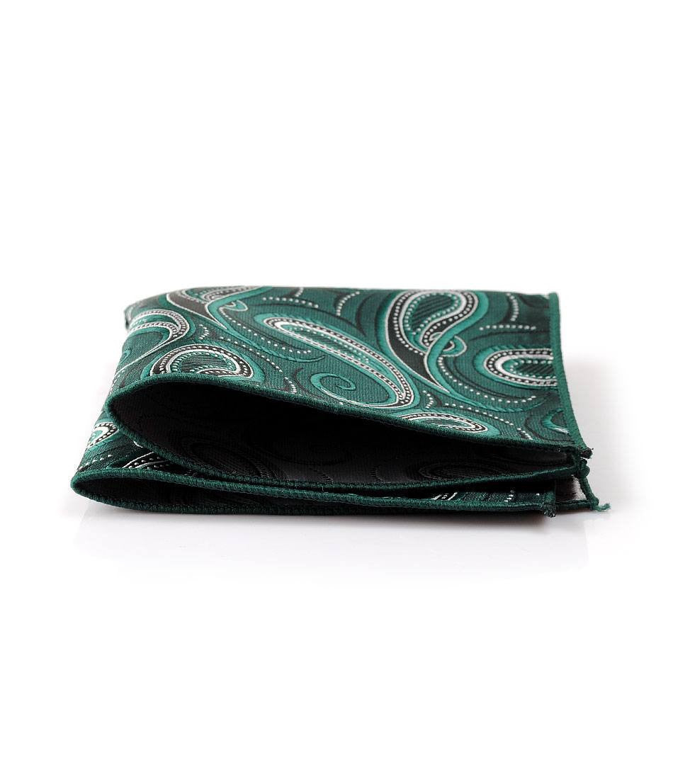Bottle Green Paisley Pocket Square - The Dapper Man