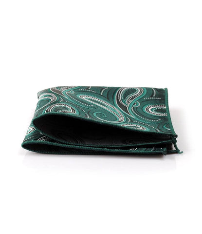Bottle Green Paisley Pocket Square