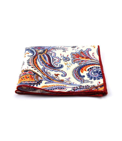 Off white & Blue Paisley Pocket Square - The Dapper Man