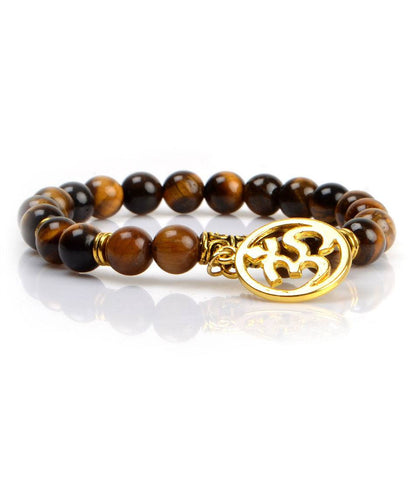 Tiger Eye Golden Om Charm Bracelet - The Dapper Man