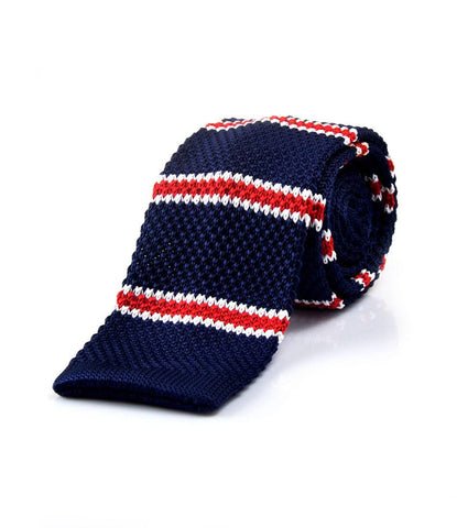 Classic Navy with Red & White Stripes Neck Tie - front
