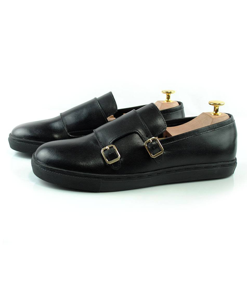 Pelle Santino - Double Monk Leather Sneakers - Black