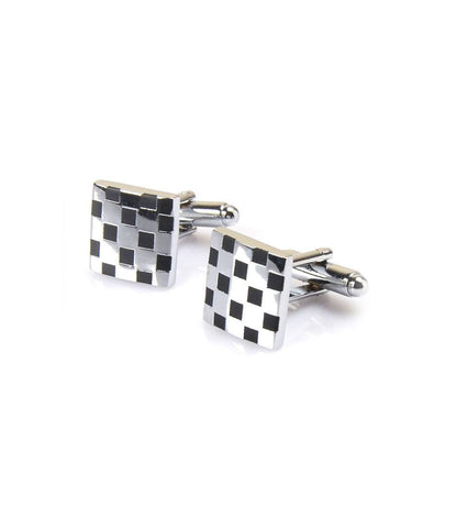 Silver & Black Chequered Cufflinks - The Dapper Man