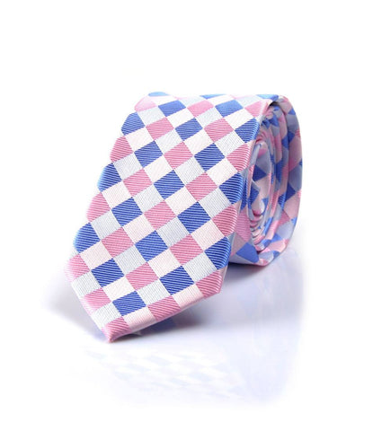 Blue & Pink Chequered Neck Tie - front