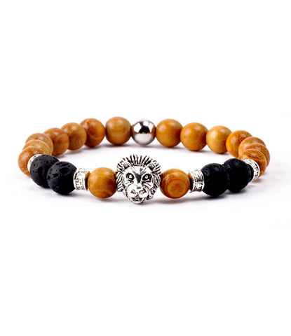 Royal Wood & Lavastone Silver Lion Charm Bracelet - The Dapper Man