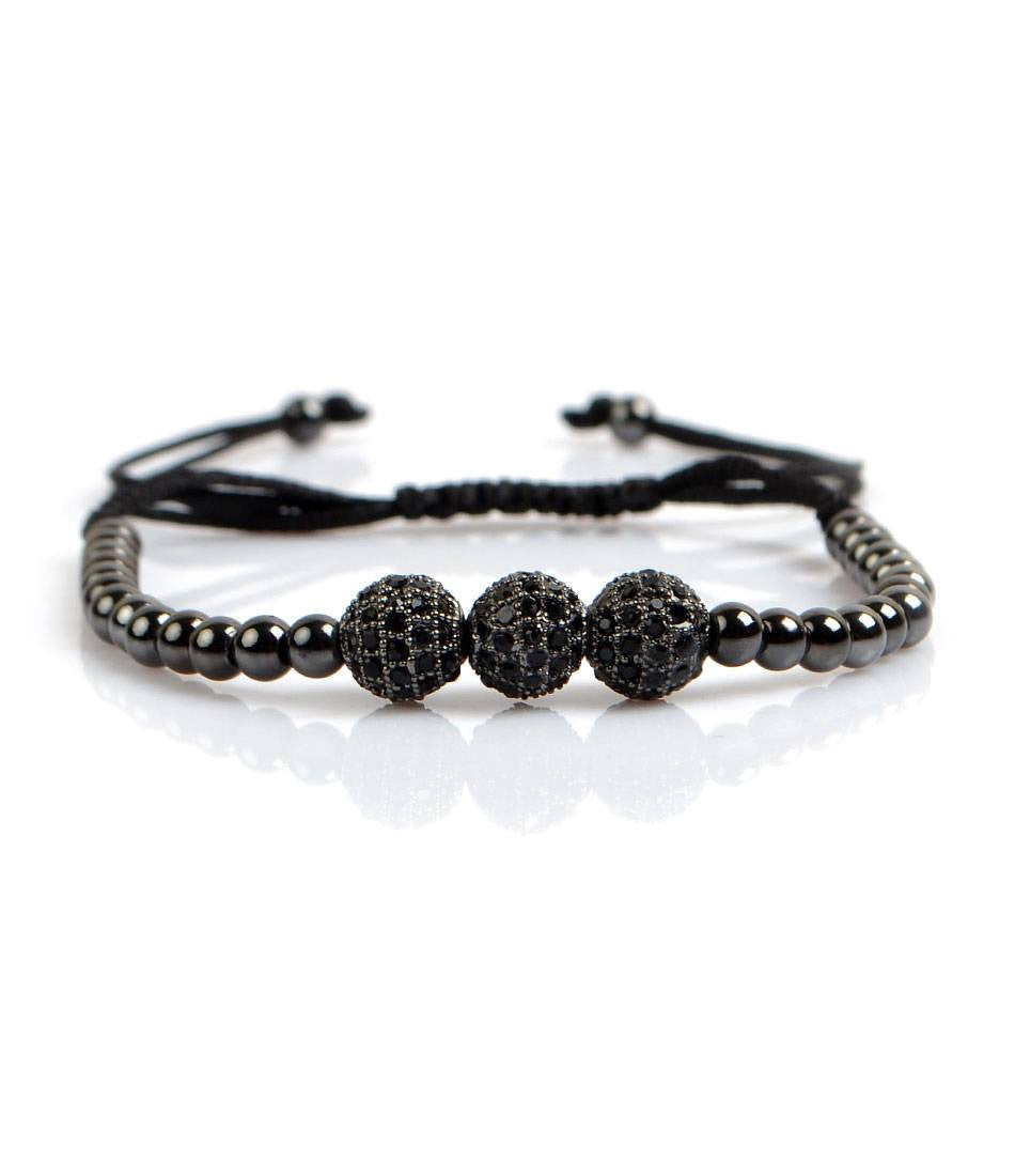 Platinum Black Trio CZ Charm Bracelet - The Dapper Man