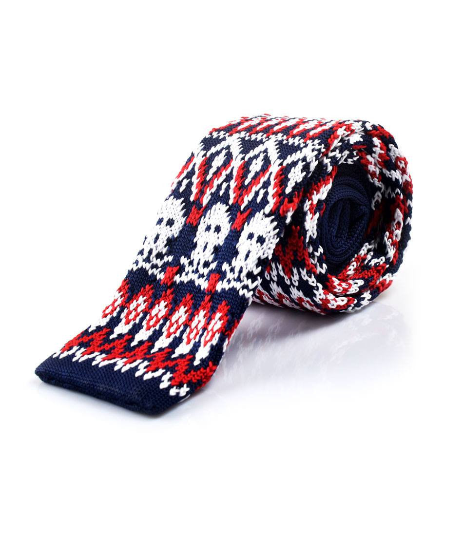 Blue & Red Skull Pattern Neck Tie - front