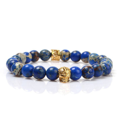 Blue Sediment Stone Skull Charm Bracelet - The Dapper Man