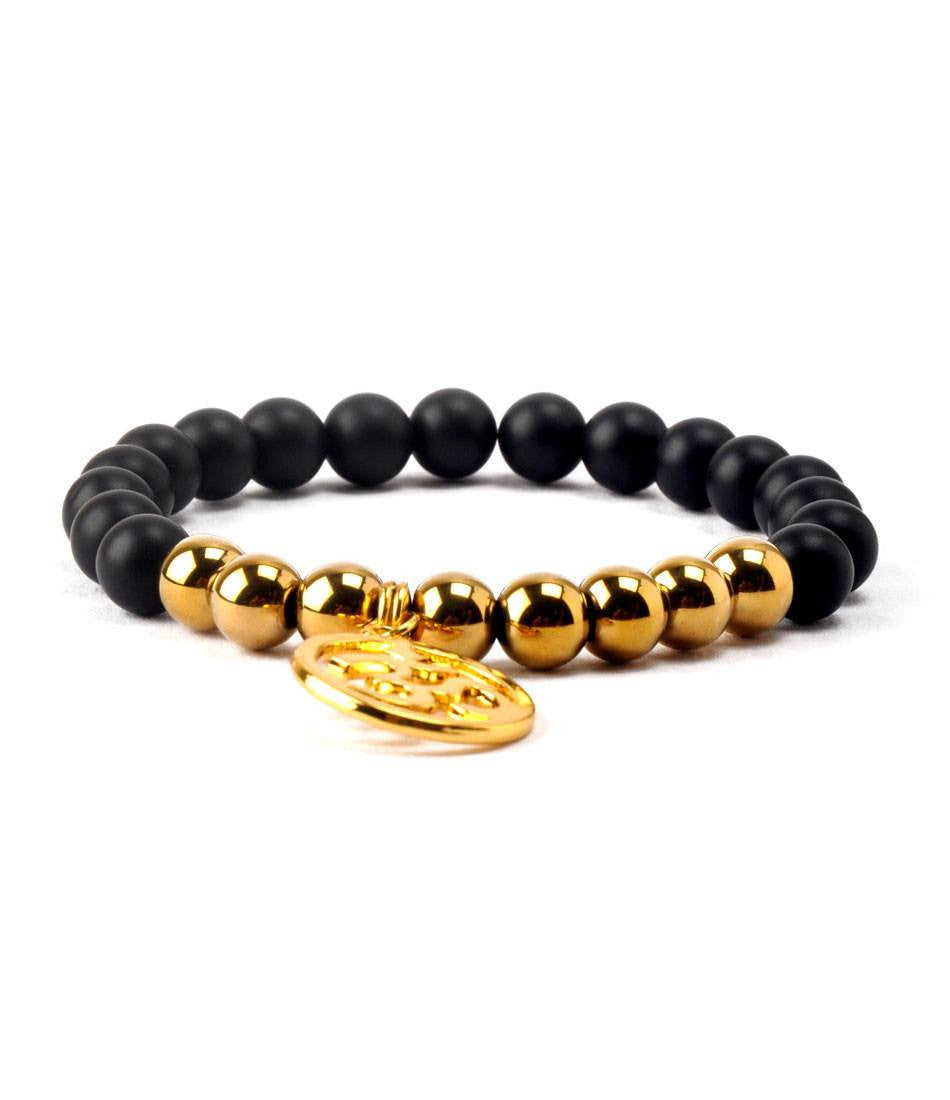 Black Agate & Golden Om Charm Bracelet - The Dapper Man