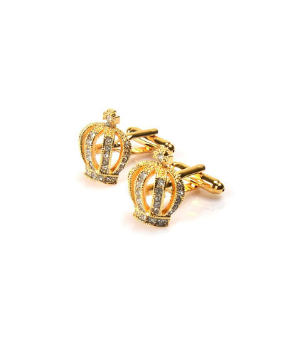 Golden Crown with White Embellishment Cufflinks - The Dapper Man
