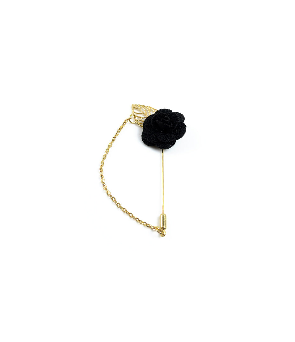 the dapper man - Black Rose Gold Leaf Lapel Pin