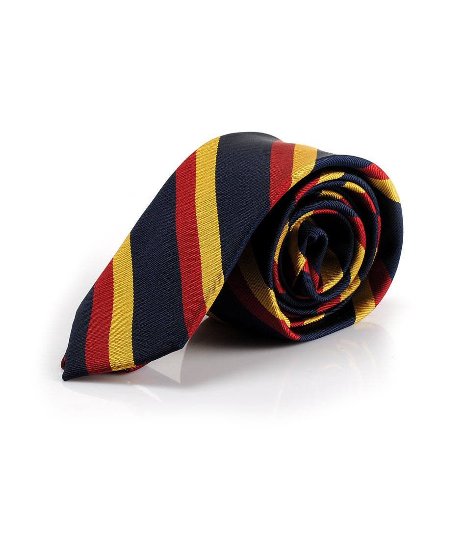 Navy Red Mustard Stripes Neck Tie - The Dapper Man