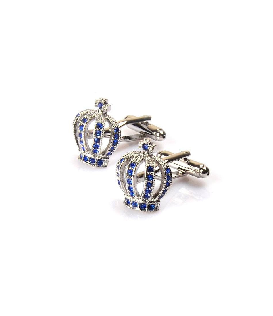 Silver Crown with Blue Embellishment Cufflinks - The Dapper Man