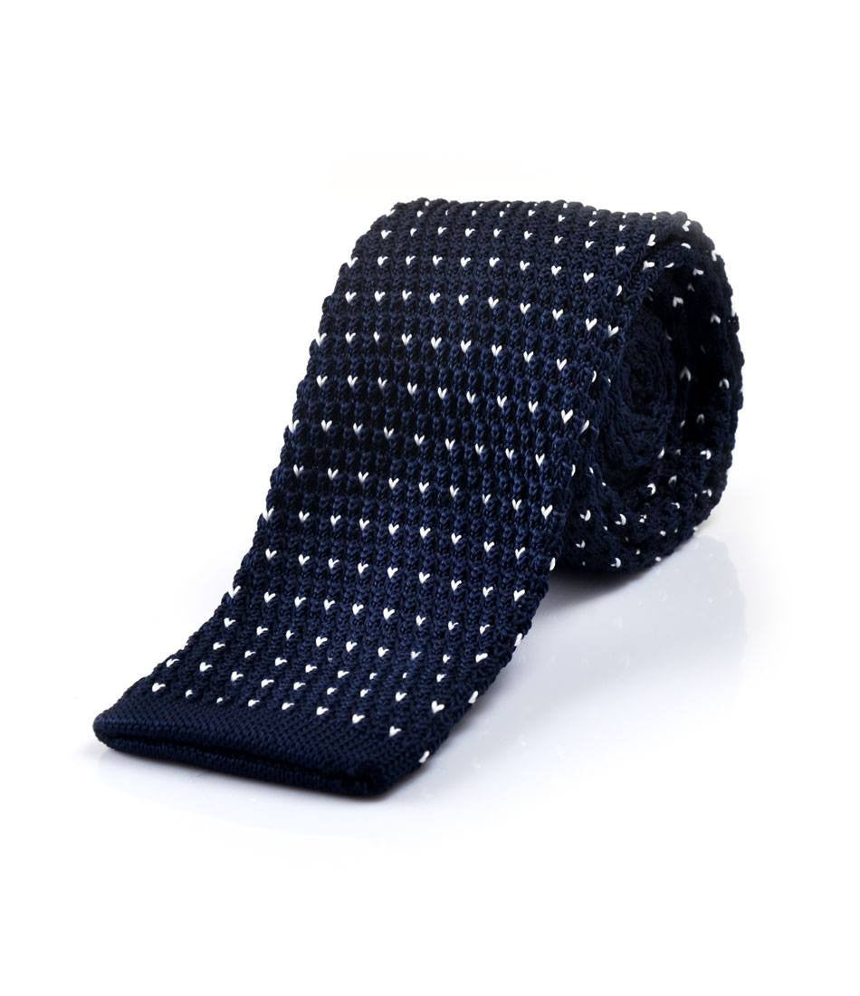 Classic Navy with White V Pattern Neck Tie - The Dapper Man