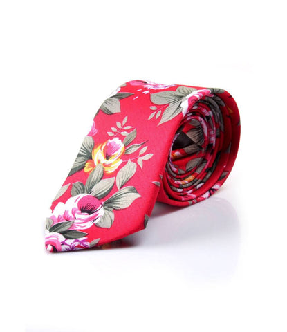 Rich Pink Floral Neck Tie - The Dapper Man