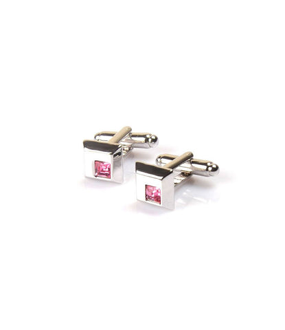 Silver with Pink Embellishment Cufflinks - The Dapper Man