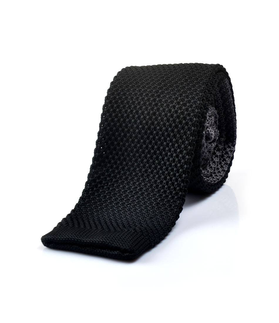 Solid Black & Grey Neck Tie - The Dapper Man