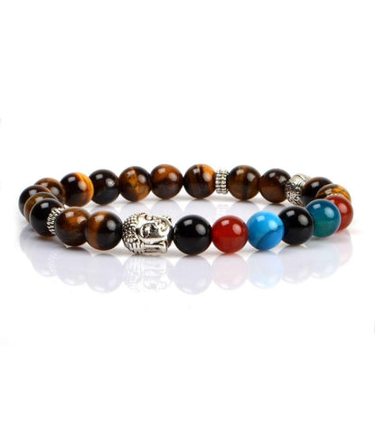 Tiger Eye Silver Buddha Charm Bracelet - The Dapper Man