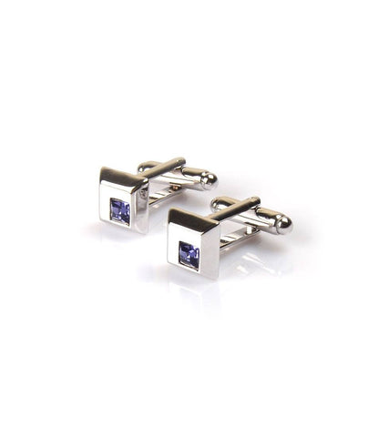 Silver with Purple Embellishment Cufflinks - The Dapper Man