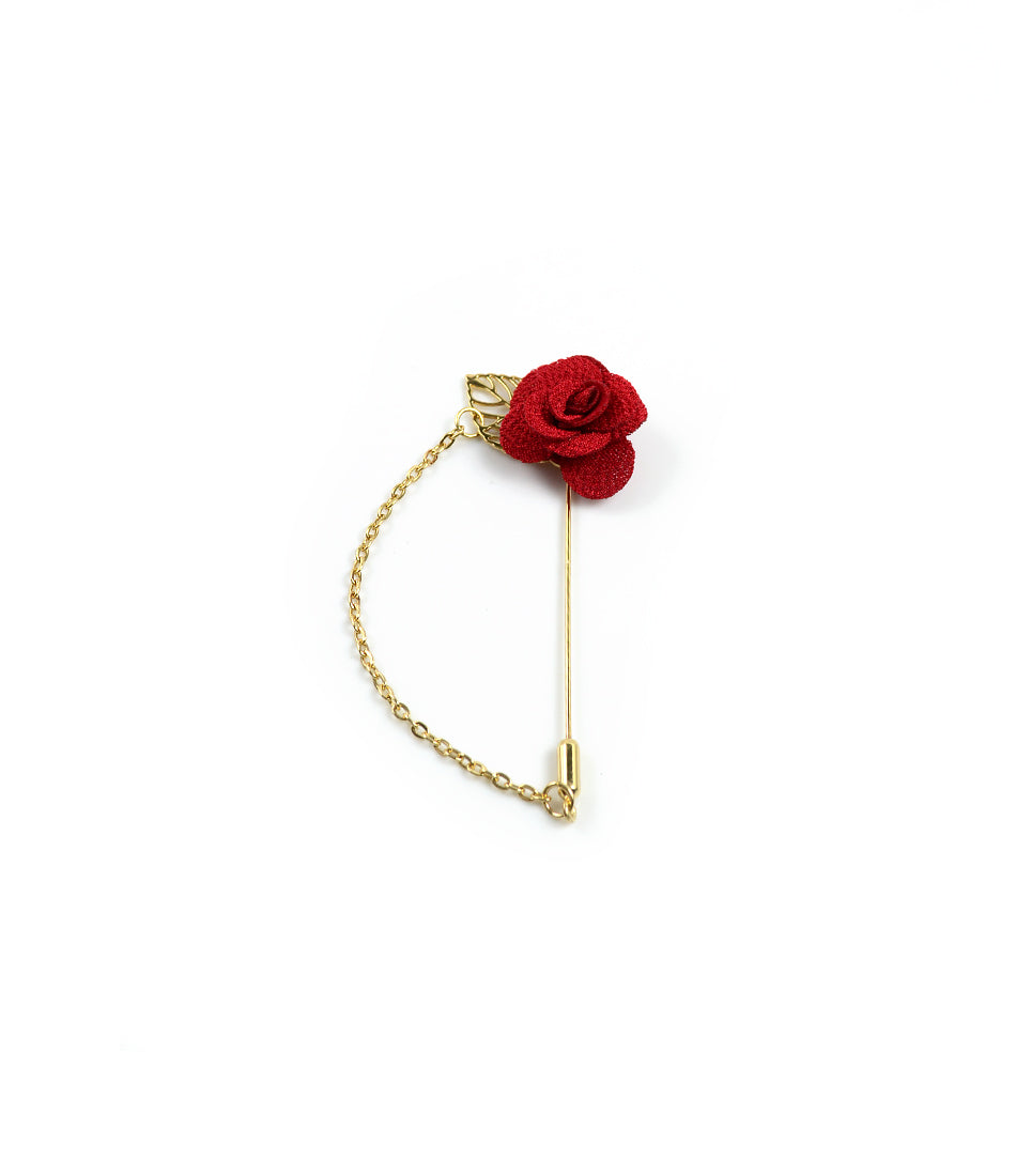 the dapper man - Red Rose Gold Leaf Lapel Pin