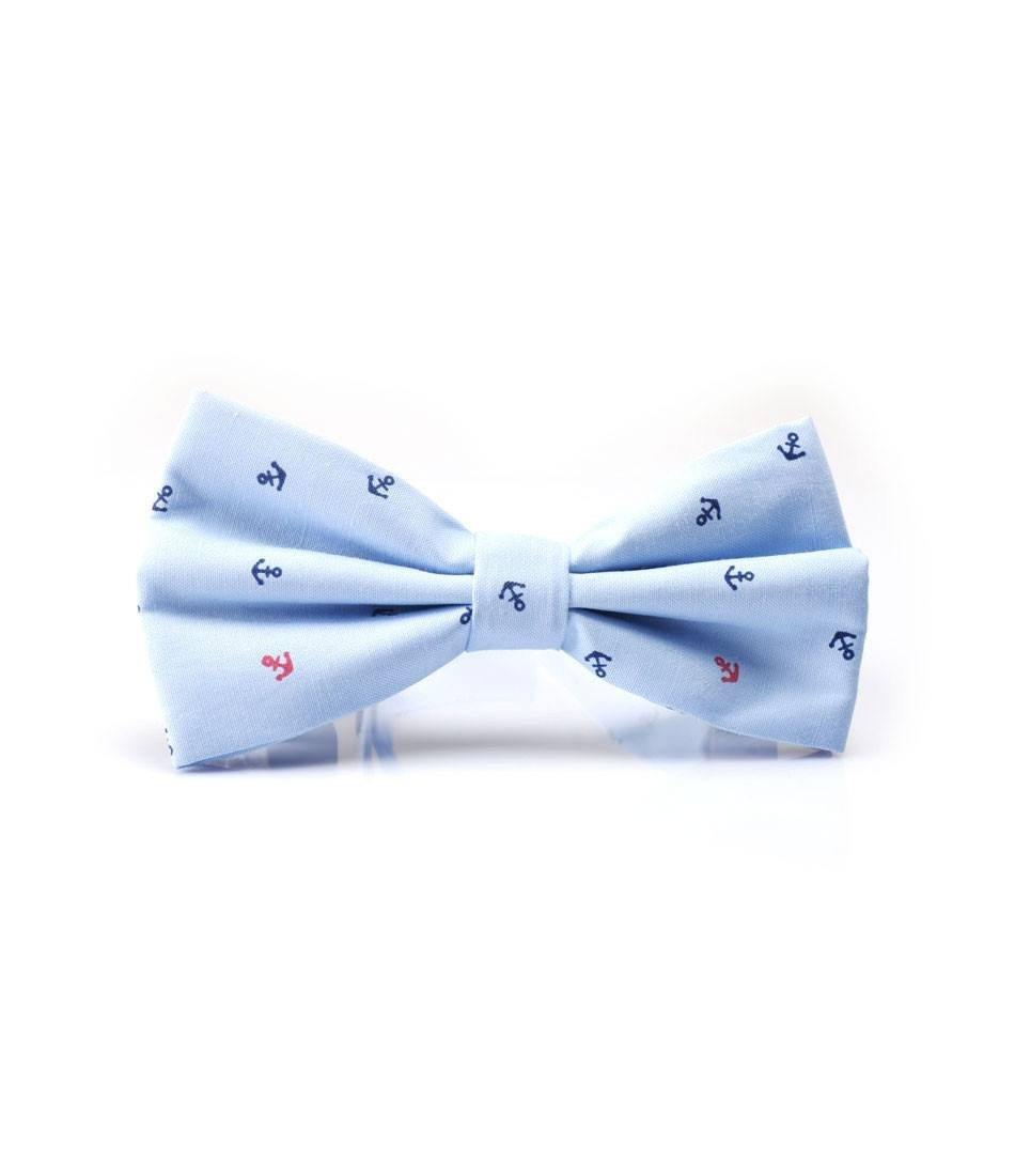 Light Blue Anchor Bow Tie - The Dapper Man