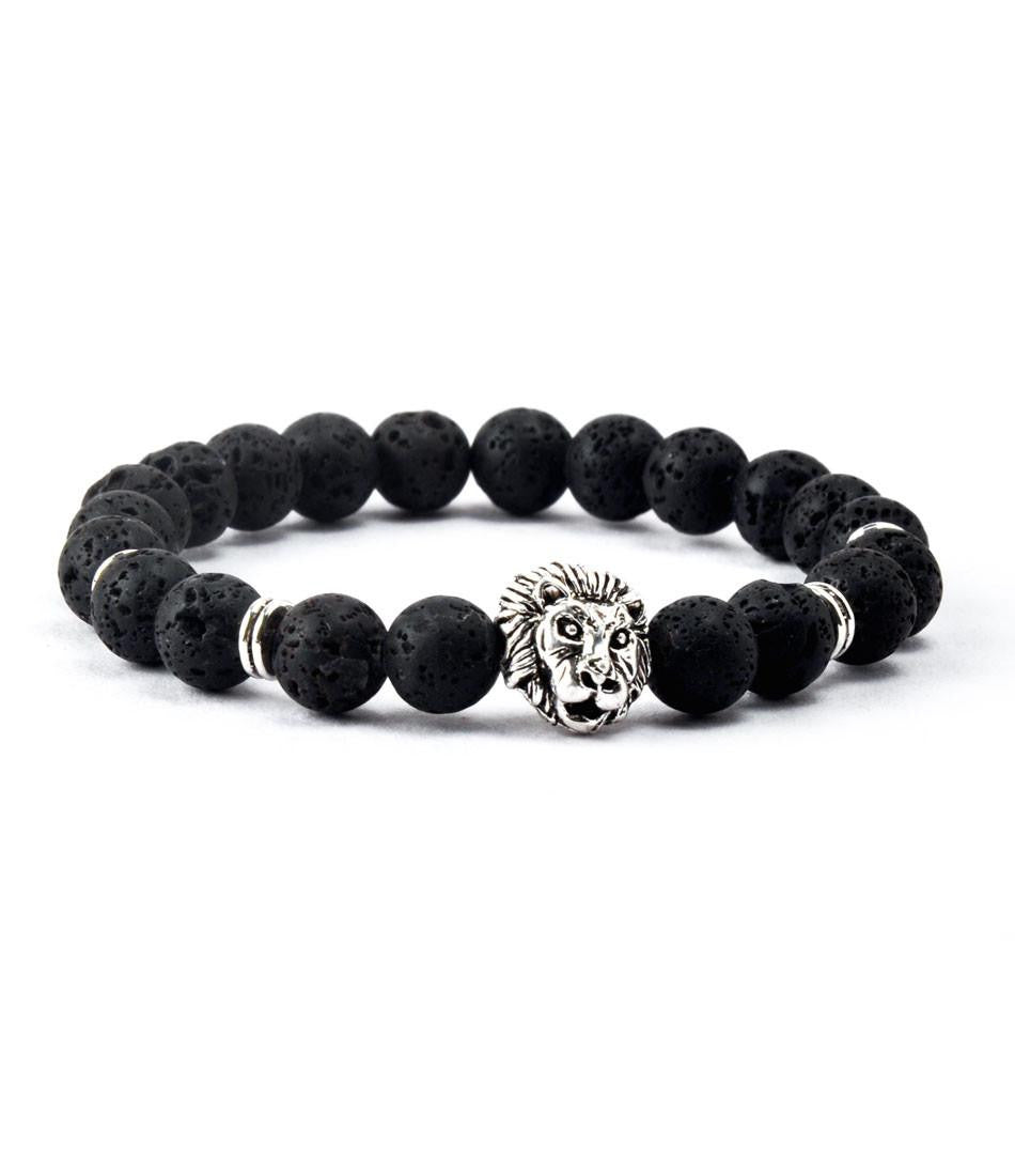 Regal Lavastone & Silver Lion Charm Bracelet - The Dapper Man