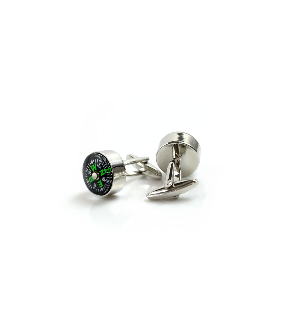 the dapper man - Silver Compass Cufflinks