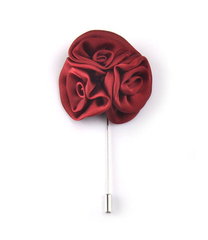 Carmine Triple Rose Flower Lapel Pin - The Dapper Man