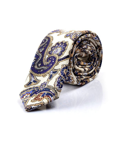Cream & Blue Paisley Pattern Neck Tie - front