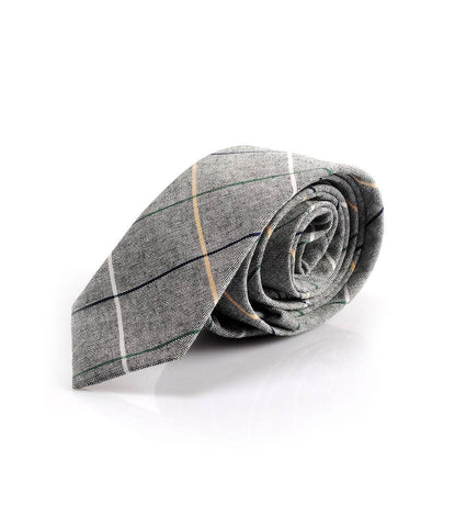 Grey Big Chequered Neck Tie