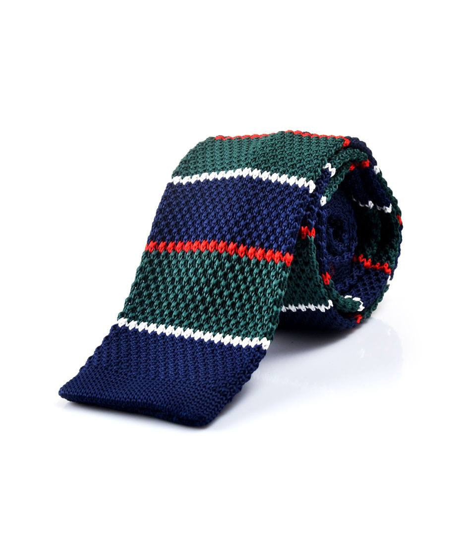 Classic Navy with Green Stripes Neck Tie - The Dapper Man