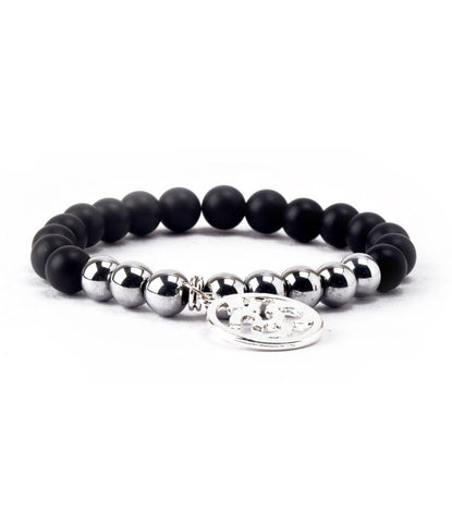 Black Agate & Silver Om Charm Bracelet - The Dapper Man